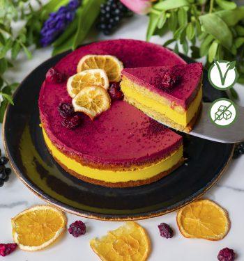 Apelsinų-vyšnių veganiškas tortas be gliuteno