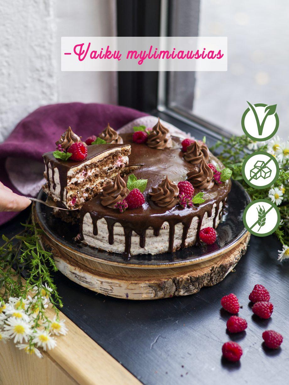 Tortas be miltų be cukraus_be laktozės_šokoladinis