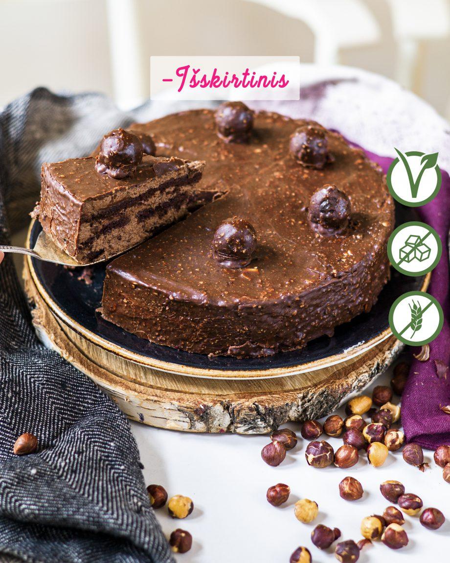 veganiskas sokoladinis tortas